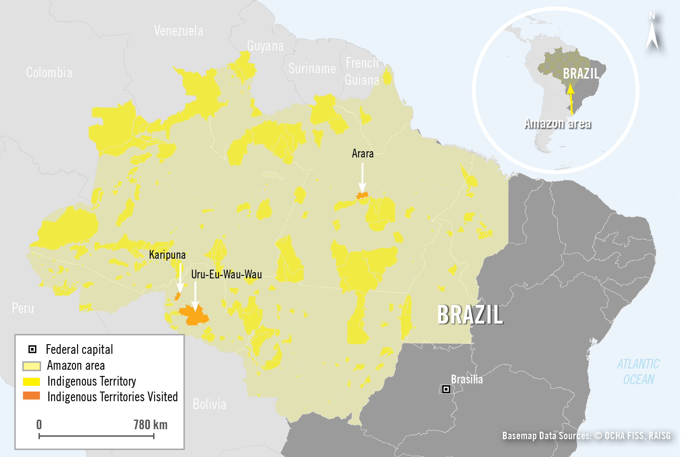 261984 Amazonas-Region-Brasilien-Karte | © Basemap data sources OCHA FISS, RAISG/Amnesty Interntional