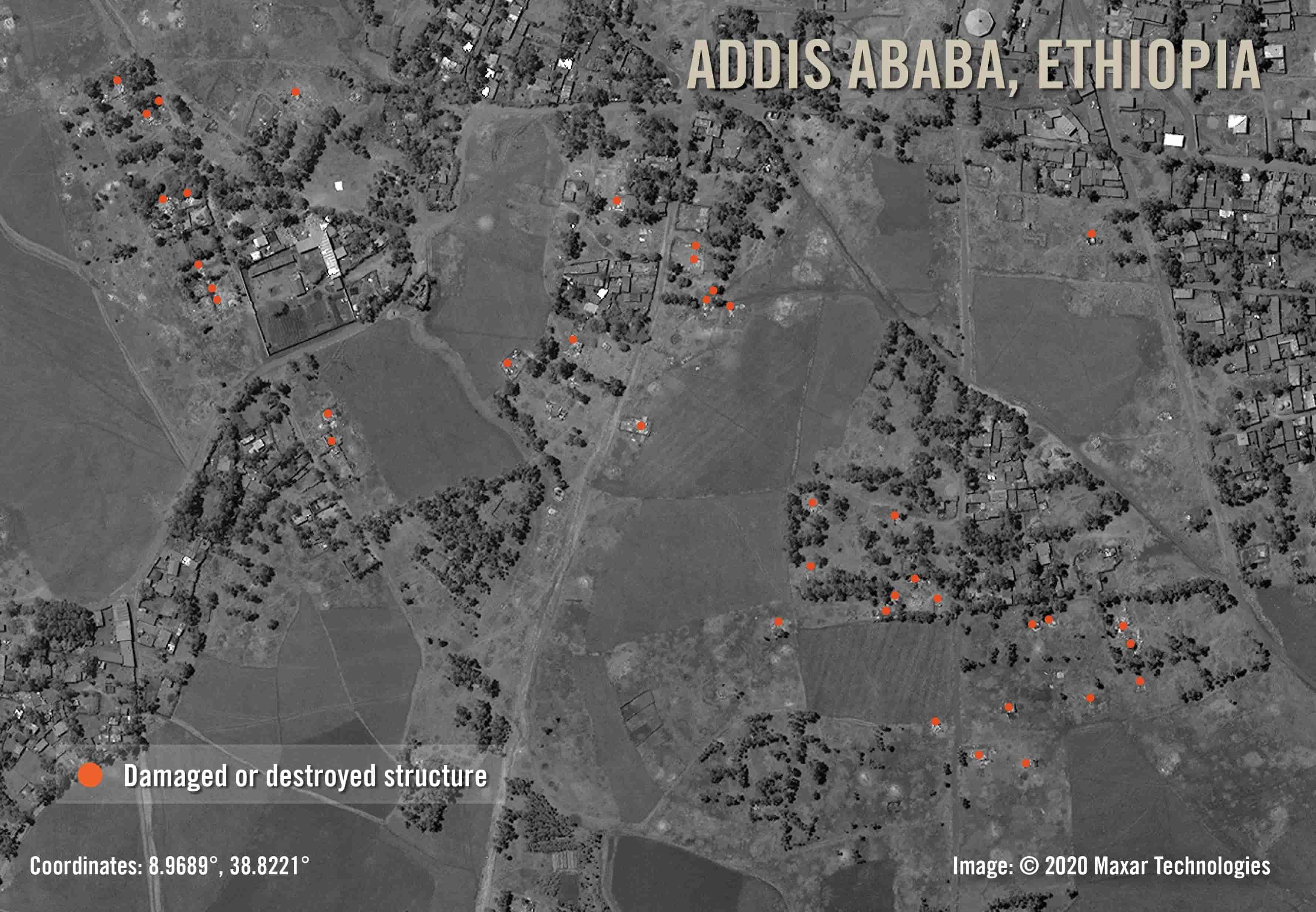Addis Abeba: Satellitenbilder vom 6. April 2020 zeigen, dass etwa 40 kürzlich gebaute Gebäude beschädigt oder zerstört wurden. Es ist wahrscheinlich, dass es noch mehr beschädigte Strukturen gibt, die durch Bäume verdeckt sind | © 2020 Maxar Technologies